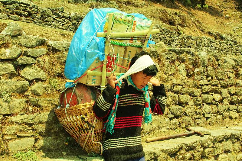 Gas Cylinders on Back Everest Base Camp trek