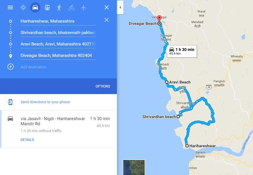 Harihareshwar to Diveagar route