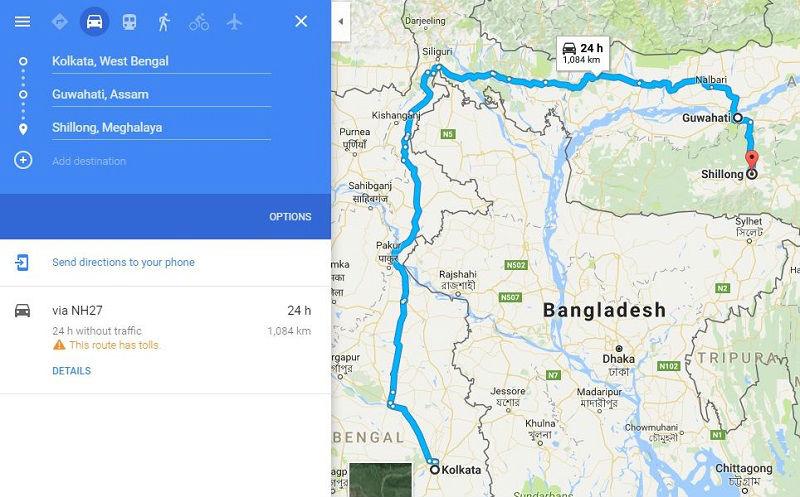 How to reach Shillong from Kolkata