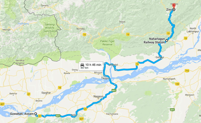How to reach Ziro valley