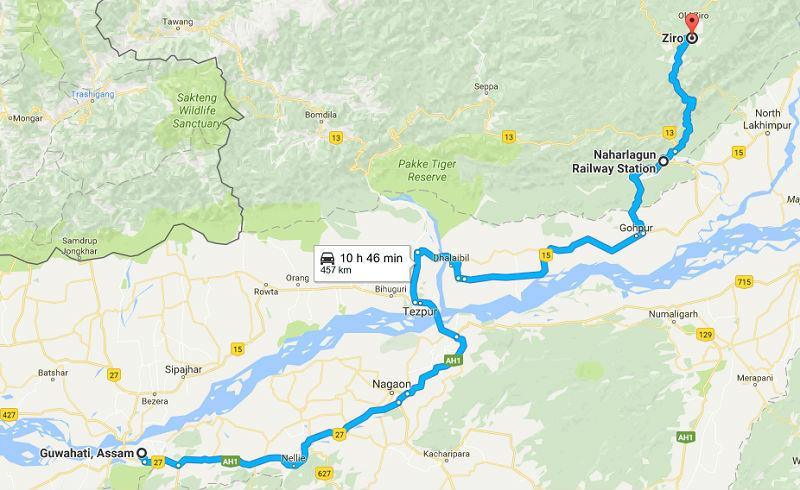 How to reach Ziro valley