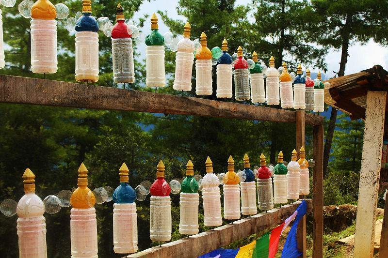 Prayer bottles on tiger's nest trek
