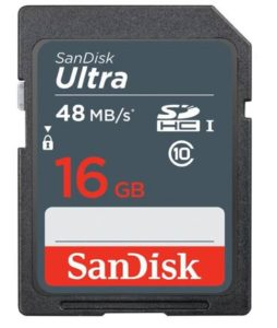 SanDisk Camera 16 GB Ultra SDHC Class 10 48 MBs Memory Card essential travel items