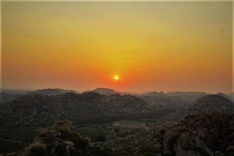 Sunset from Hanuman hill Hampi Karnataka