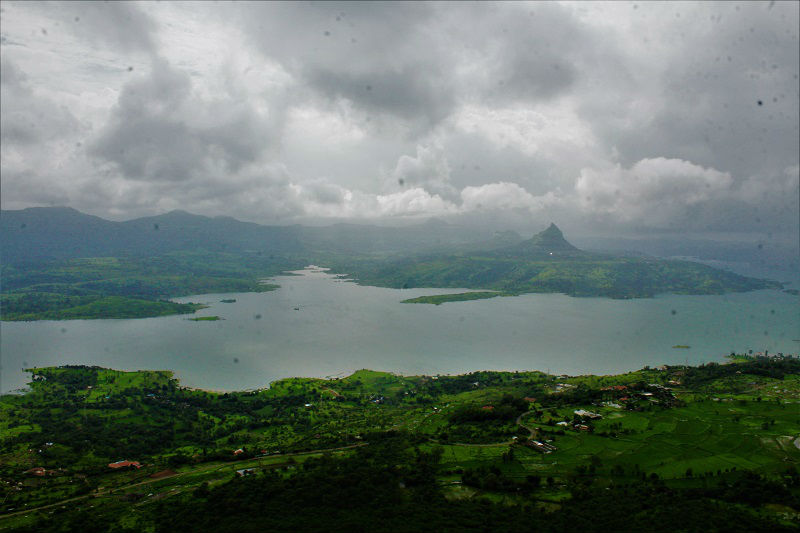 View of Pawna dam from Tikona Fort Trek