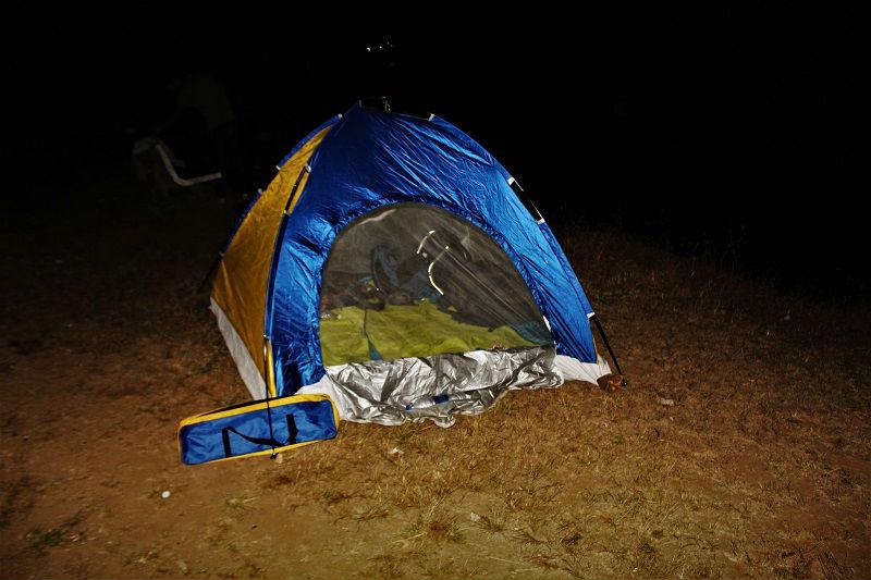 tent at Bhandardara Dam