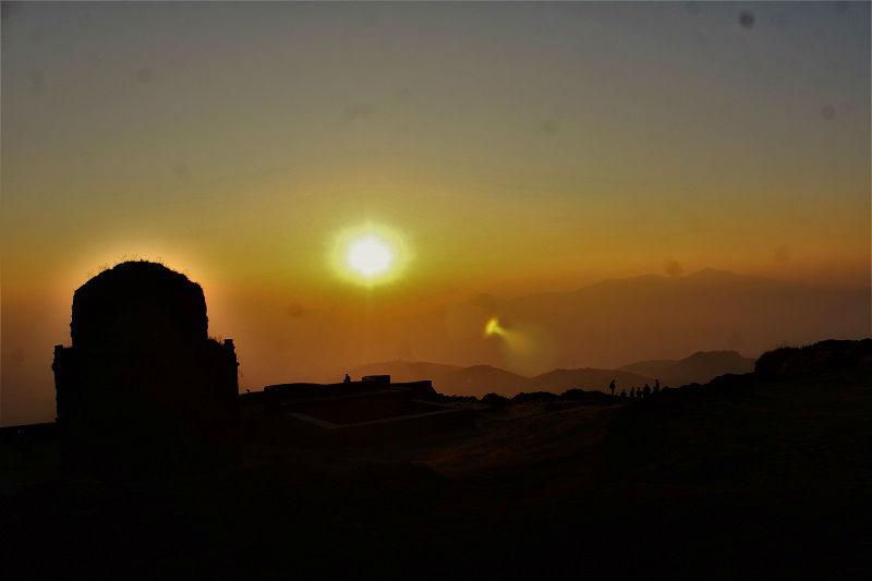 view of sunrise from Lohagad Fort near Pune Mumbai