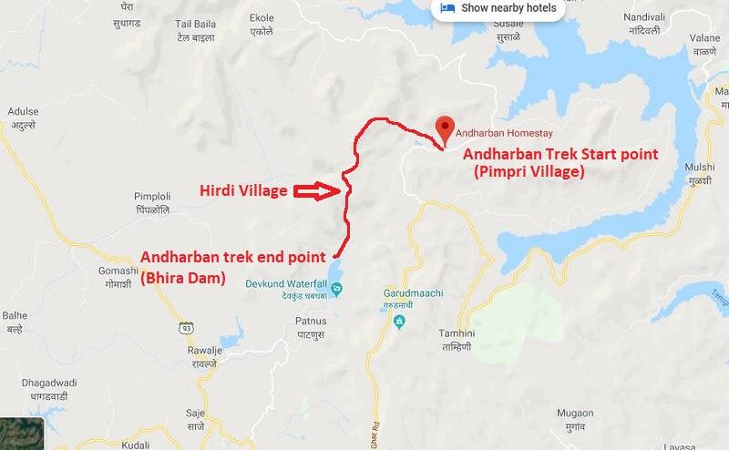 Andharban Trek route