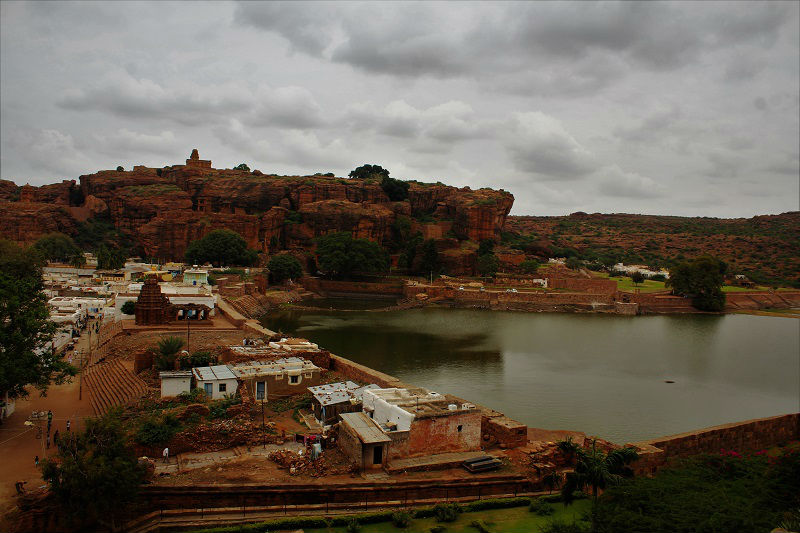 Badami view from Caves