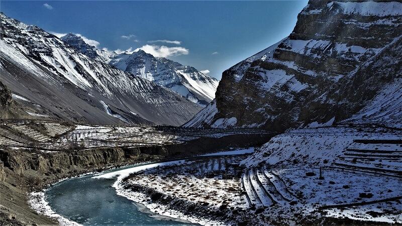 Beautiful spiti river flowing in winters