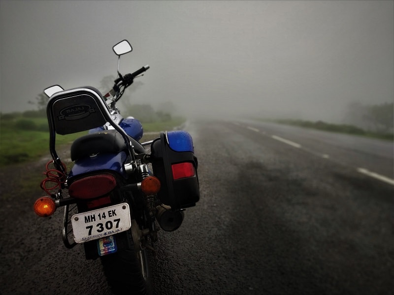 Bike ride in foggy weather Korigad Fort Trek