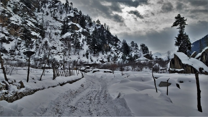 Breathtaking sangla valley view as seen on way to Chitkul in winters