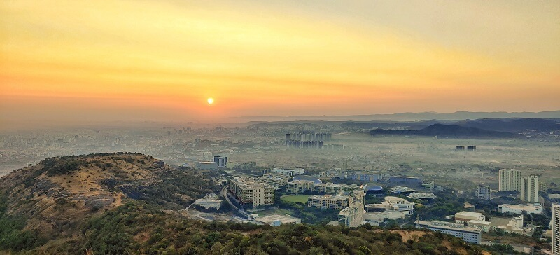Breathtaking sunrise as seen from Infosys Marunji hill