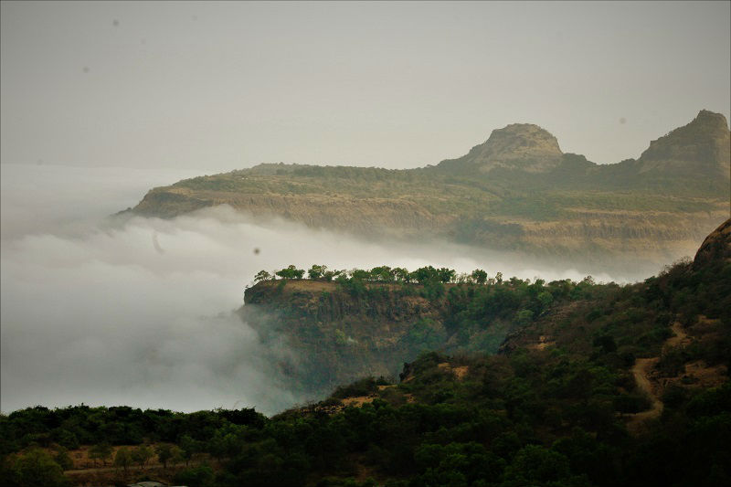 Clouds so low in route Rajmachi Fort