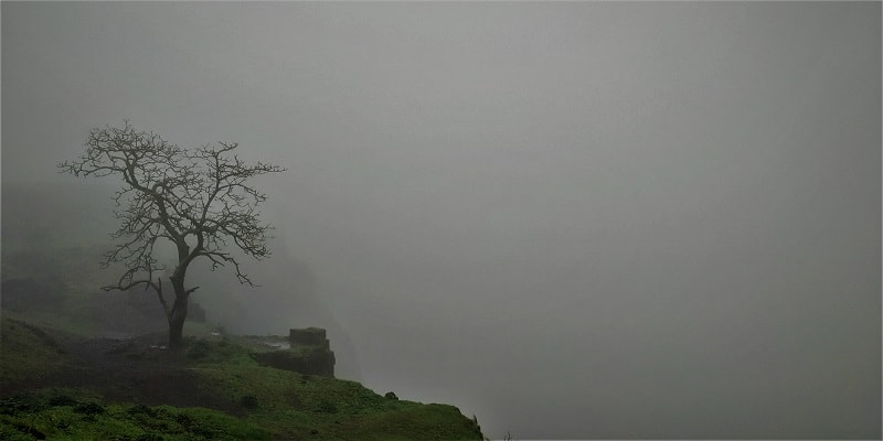 Cloudy condtions on Visapur Fort Trek