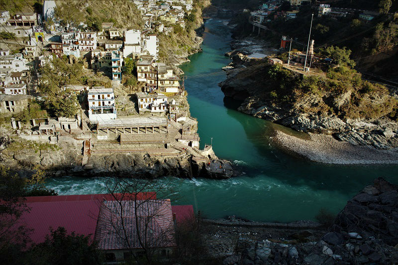 Confluence of Alaknanda and Bhagirathi to form Ganga
