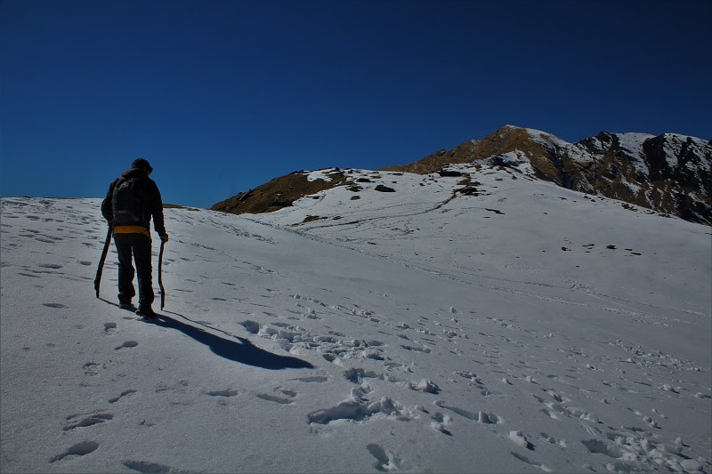 Dense snow routes Khaliya top trek Munsiyari