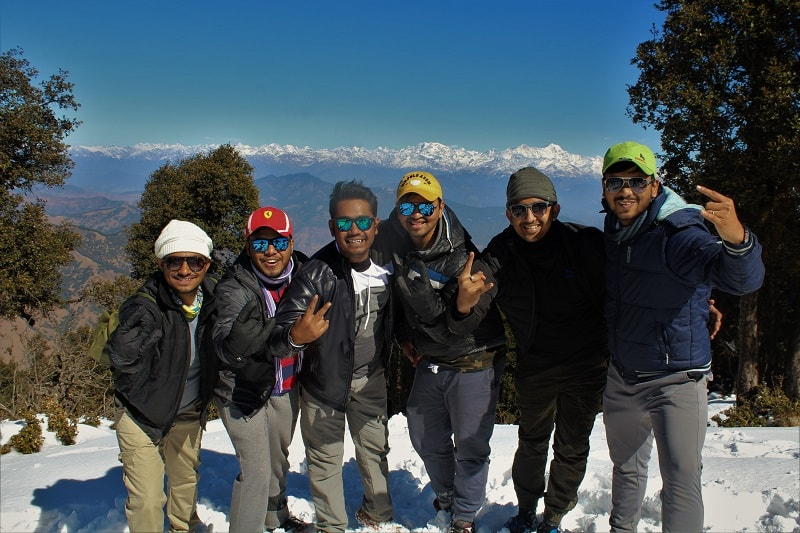 Fellow trekkers at Nag Tibba Trek