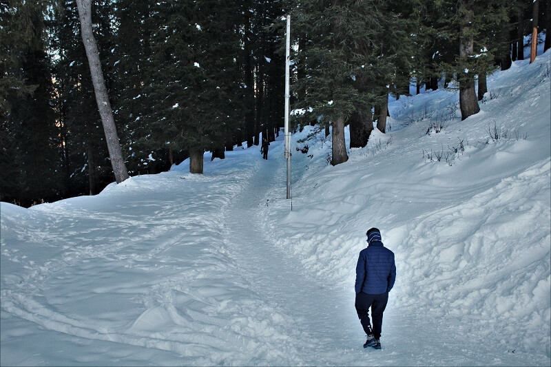 Friend walking on Snow at Narkanda in Winters