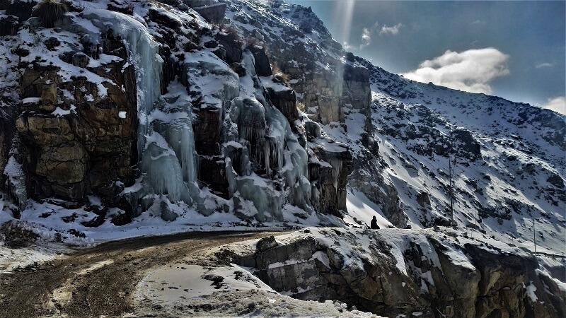 Frozen waterfall by roadside Spiti valley