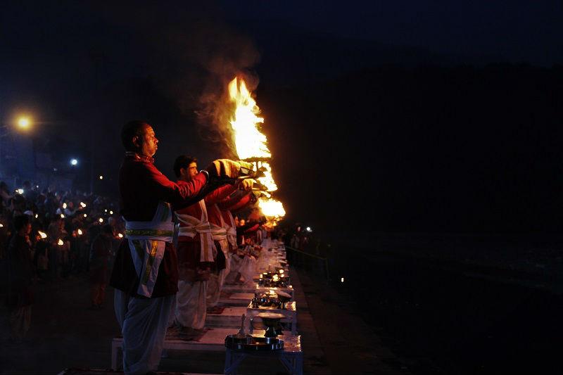 Ganga Aarti at Triveni Ghat Rishikesh Uttrakhand