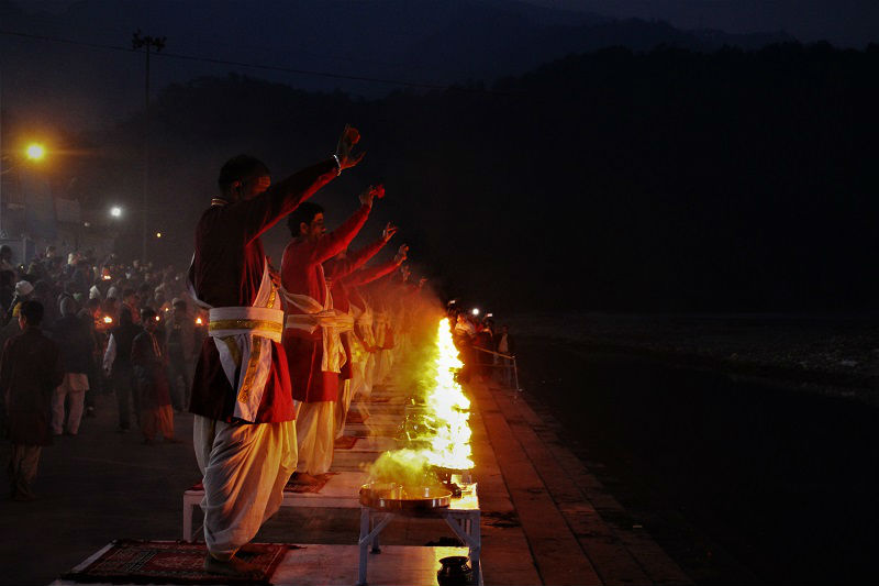 Ganga Aarti scenes at Triveni Ghat Rishikesh Uttarakahand
