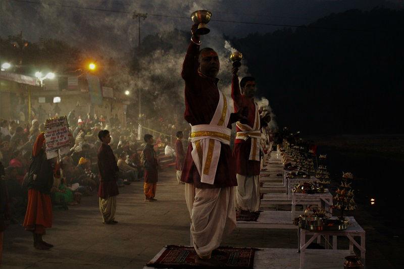 Ganga Aarti time at Triveni Ghat Rishikesh Uttarakhand