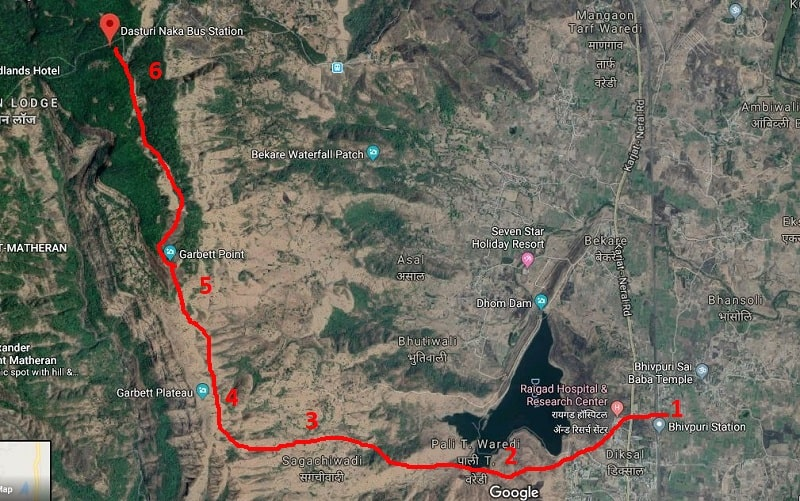 Garbett point trek route from Bhivpuri road station to Dasturi Naka-min