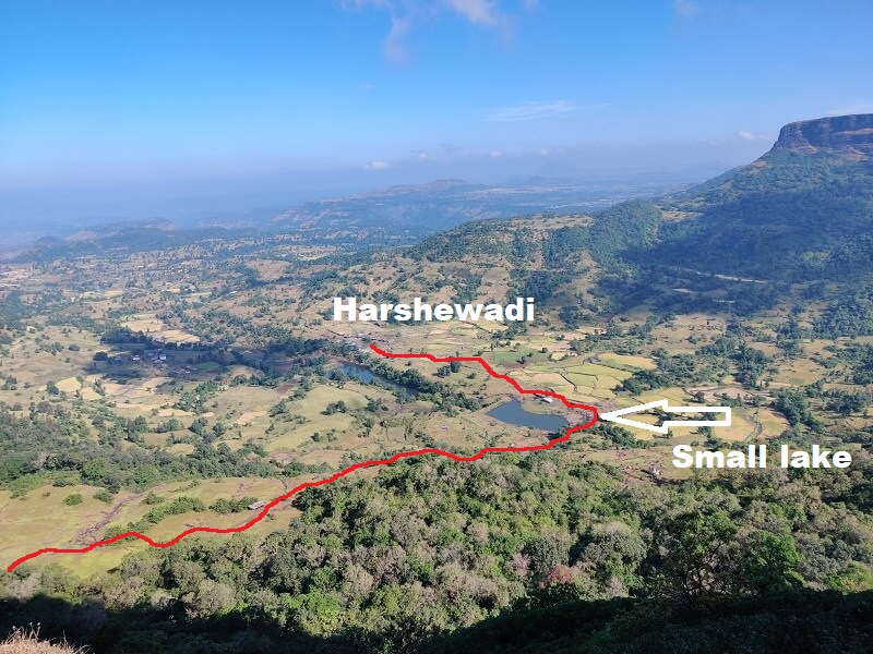 Harihar trek route from Harshewadi