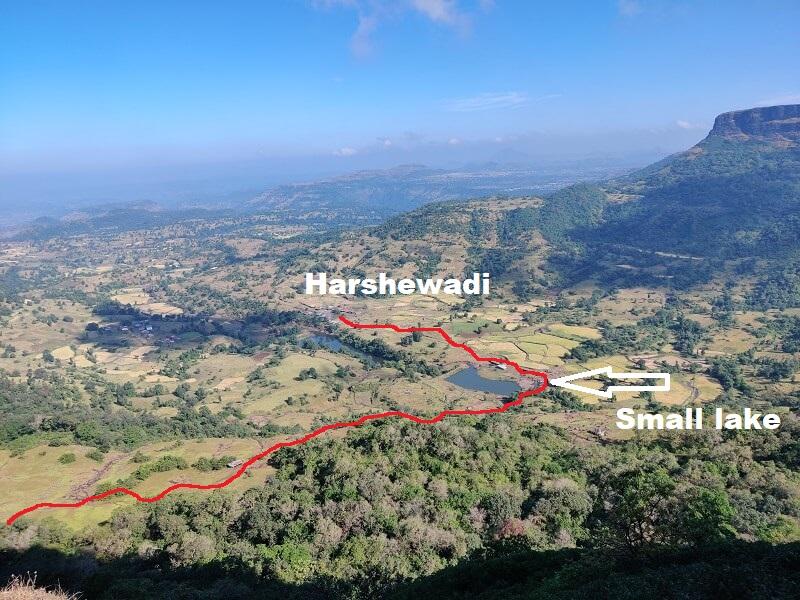 Harihar trek route from Harshewadi