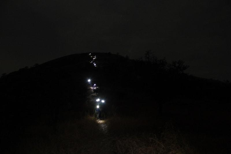 Headlamp by trekkers on Katraj to Sinhgad Night Trek