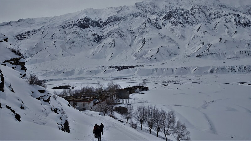 Hiking to the Key Monastery Spiti Valley in Winters