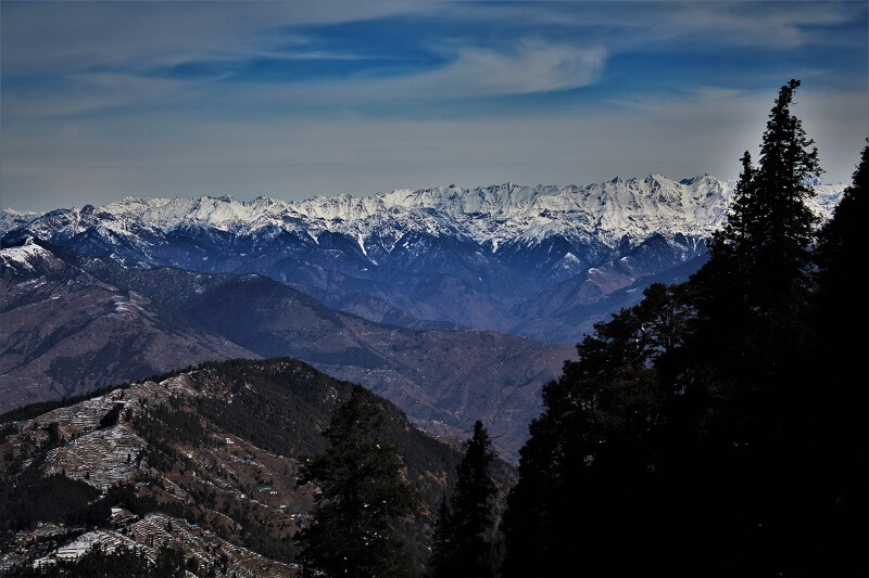 Himalayas as seen from Narkanda in winters