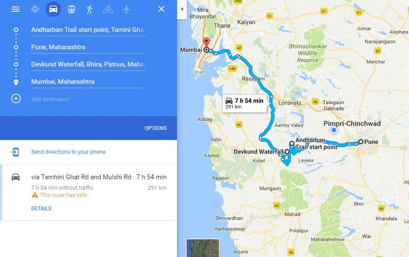 How to reach Andharban Jungle and Devkund Waterfall from Pune Mumbai