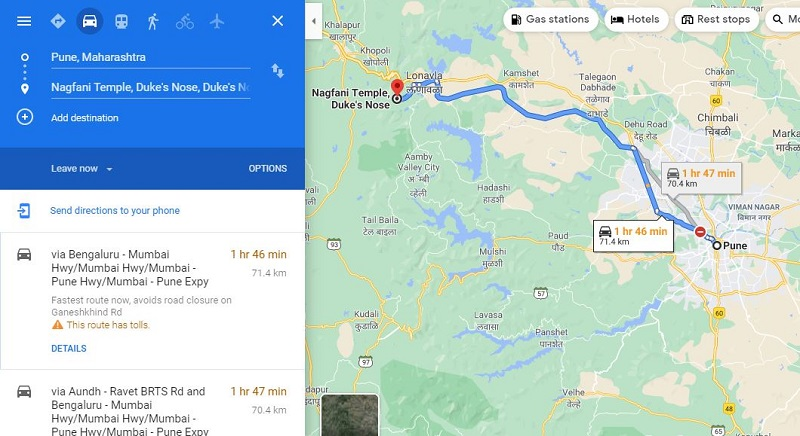 How to reach Dukes Nose from Pune