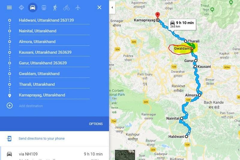 How to reach Gwaladam from Haldwani Nainital Almora Kausani Karnaprayag-min