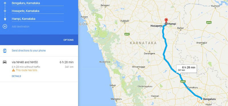 How to reach Hampi Karnataka