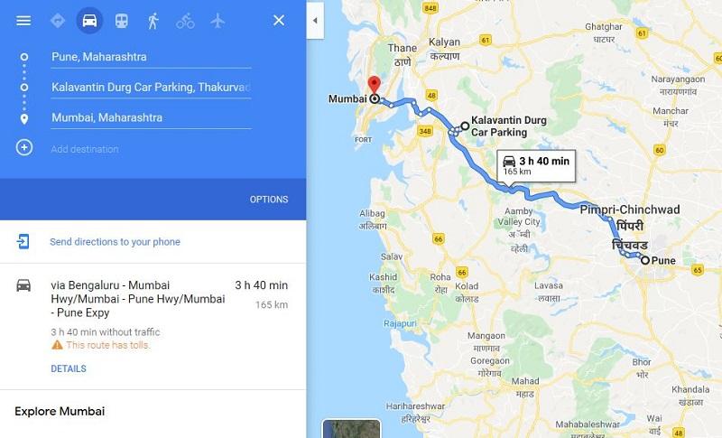 How to reach Kalavantin Durg from Pune Mumbai