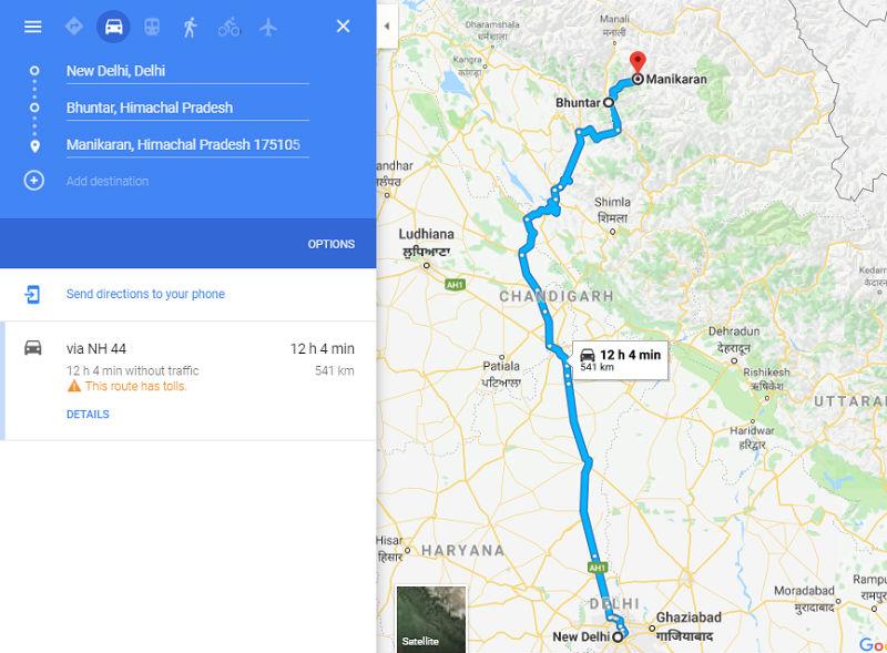 How to reach Manikaran from Delhi