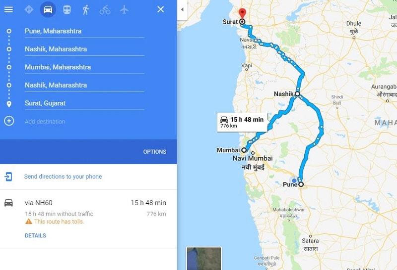 How to reach Nashik from Mumbai Pune Surat