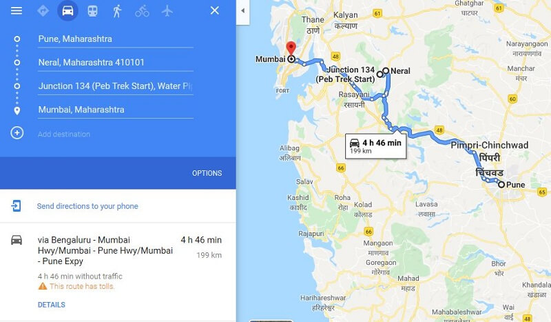 How to reach Peb Fort from Pune Mumbai