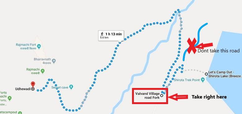 How to reach Shirota Lake from Udhewadi base Village-min