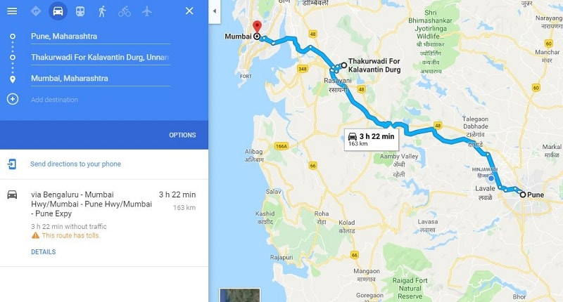 How to reach Thakurwadi Kalavantin Durg base village from Pune Mumbai-min