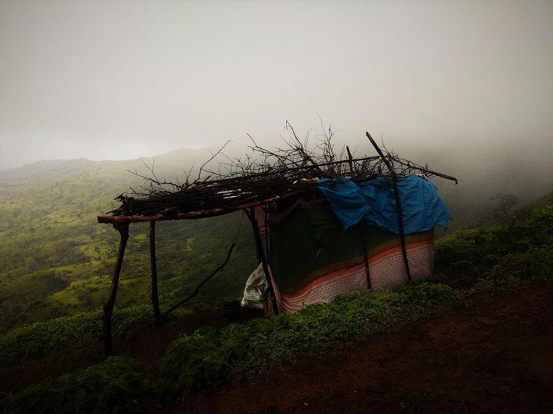 Hut at Torna Fort Trek Route