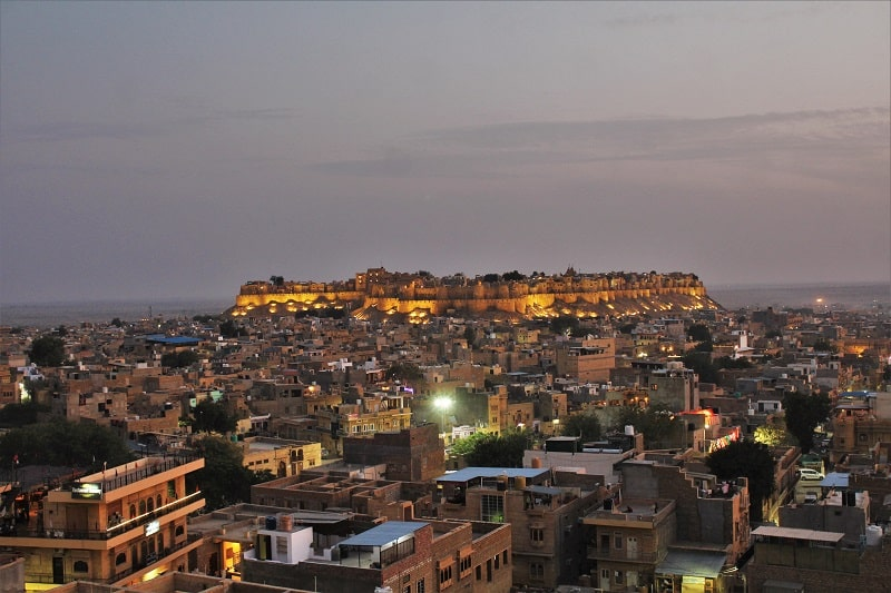 Jaisalmer Fort lightened up at night
