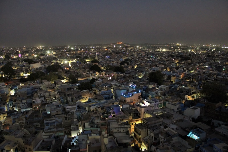 Jodhpur city at night as seen from pachetia Hill