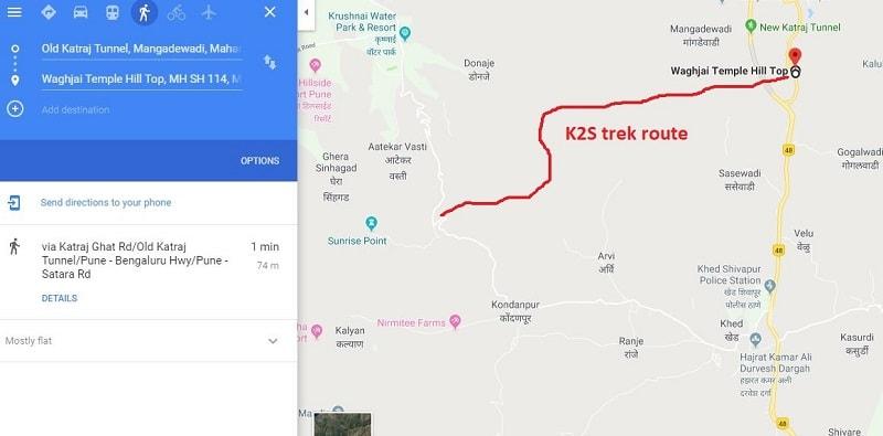 Katraj to Sinhagad Night trek route-min