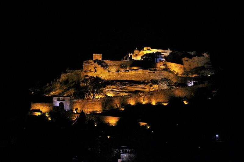 Kumbhalgarh Fort at night Rajasthan trip
