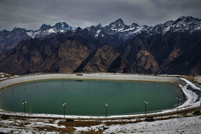 Man made lake at Auli Hill station Uttrakhand
