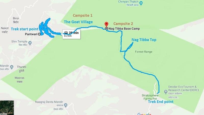 Nag tibba Trek route